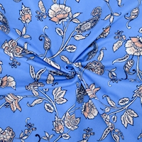 Blue/Blush/White Floral Printed Double Brushed ITY Knit