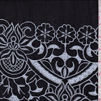 *1 YD PC--Black/White Embroidered Floral Linen Look