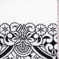 *1 YD PC--White/Black Embroidered Floral Linen Look