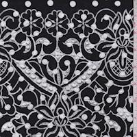 Black/White Dot Embroidered Floral Rayon Challis