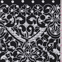 *1 YD PC--Black/White Dot Embroidered Floral Rayon Challis