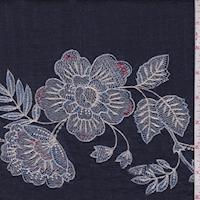 Vintage Navy Embroidered Floral Linen Look