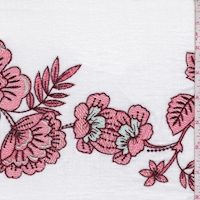 *1 YD PC--Bright White Embroidered Floral Linen Look
