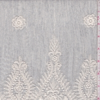 Pale Grey/Ivory Embroidered Scroll Chambray Lawn