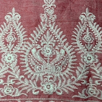 Red/Ivory Embroidered Scroll Chambray Lawn