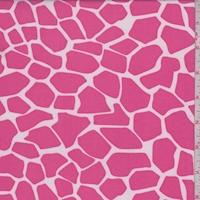 ITY Hot Pink/White Giraffe Print Jersey Knit