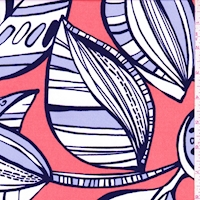 ITY Coral Orange/Navy Modern Botanical Jersey Knit