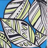 ITY Bright Blue/Green Modern Botanical Jersey Knit
