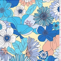 ITY Yellow/Blue Floral Garden Jersey Knit