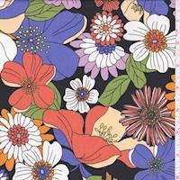 ITY Black/Orange Floral Garden Jersey Knit