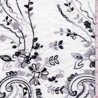 White/Dove/Black Embroidered Paisley Rayon Challis