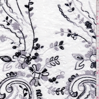 1 YD PC--White/Dove/Black Embroidered Paisley Rayon Challis