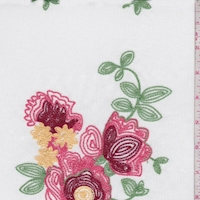 1 YD PC--White Multi Floral Embroidered Crinkle