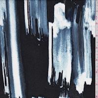 Dusty Blue/Midnight Brushstroke Stripe Crepe Georgette