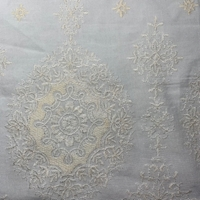 *1 YD PC--Light Buttercream Embroidered Medallion Rayon Challis