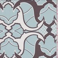 Cherry Brown/Blue Art Deco Silk Chiffon