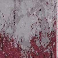 Maroon/Red/Ivory Granite Look Silk Chiffon