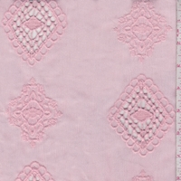 Creamy Pink Embroidered Medallion Crinkled Gauze