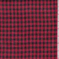 Cherry/Black Check Cotton Lawn