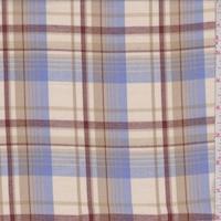 Beige/Periwinkle/Maroon Plaid Flannel