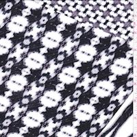 Black/Grey/White Deco Patch Rayon Jersey Knit