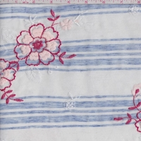 White/Blue Stripe Embroidered Floral Linen Look