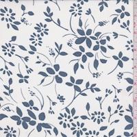 White/Vintage Blue Floral Crepe Georgette