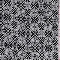 Black/White Scroll Tile Crepon