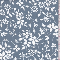 Vintage Blue/White Floral Crepe Georgette