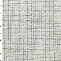 *1 3/8 YD PC--Green/Gray/Teal Wool Blend Boucle Plaid Jacketing
