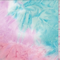 *3 YD PC--Aqua/Pink/Orchid Tie Dye Double Brushed Jersey Knit