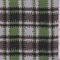 *2 3/8 YD PC--Dove/Green Ruffle Plaid Silk Crepe de Chine