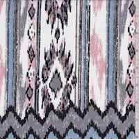 *2 YD PC--White/Pink/Blue Southwest Ikat Peachskin