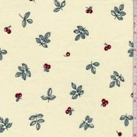 *4 1/4 YD PC--Buttercream Cherry Print Cotton Flannel