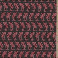 *4 3/4 YD PC--Navy/Salmon Mini Palm Tree Swimwear