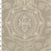 *1 3/8 YD PC--Taupe Gray/White Floral Embroidered Cotton Linen