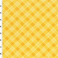 *4 5/8 YD PC--Yellow Cotton Diamond Plaid Printed Home Decorating Fabric