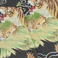*1 YD PC--Dark Taupe/Green/Multi Tiger and Dragon Rayon Print