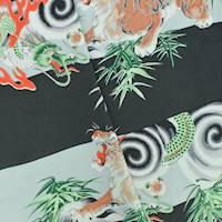 *1 YD PC--Black/Green/Multi Tiger and Dragon Rayon Print