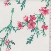 *3/4 YD PC--Ivory/Creamy Pink Floral Sprig Brushed French Terry Knit