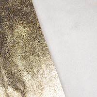 *1 YD PC -- Metallic Gold Leather-Like Texture Foil Printed Faux Suede Knit