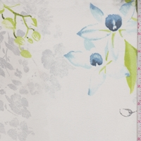 Off White/Citron/Grey Floral Silk Chiffon