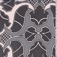Pale Blush/Black Art Deco Silk Chiffon