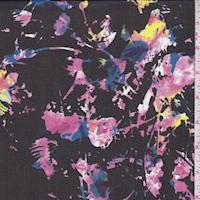 Black Multi Mottled Floral Silk Chiffon
