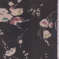 Black/Taupe Modern Floral Silk Chiffon