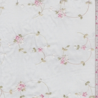 White/Green/Pink Embroidered Floral Vine Cotton