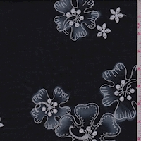 Black/Grey Embroidered Hibiscus Lawn