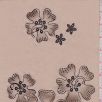 Beige/Mocha Embroidered Hibiscus Lawn