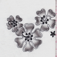 White/Pewter Embroidered Hibiscus Lawn