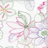 White/Lavender/Green Embroidered Floral Cotton